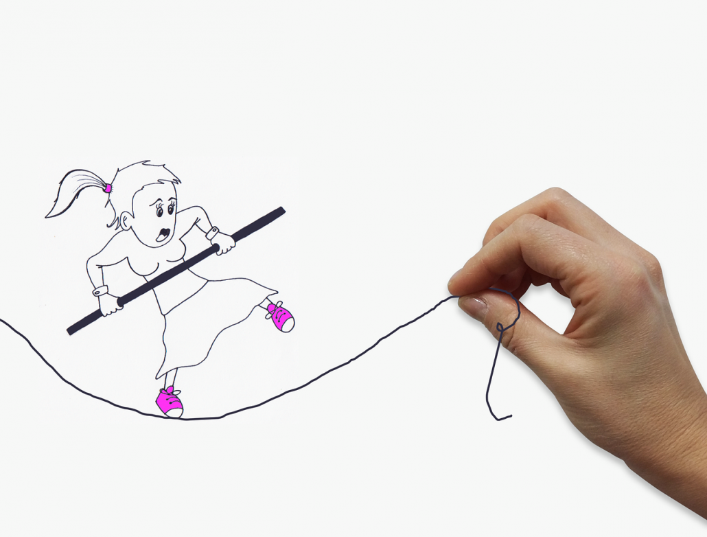 hand drawing of woman walking on a wobbly tightrope